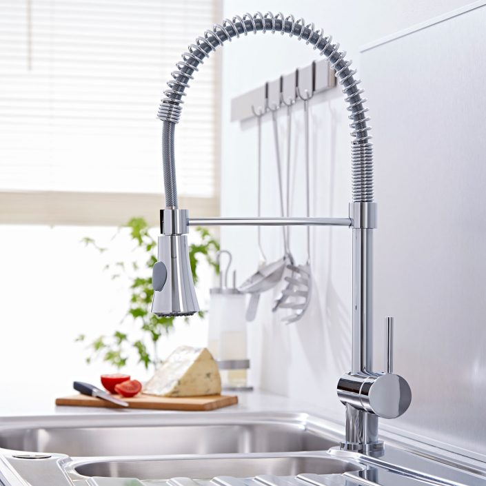 Milano Chrome Pull-Down Spray Kitchen Tap