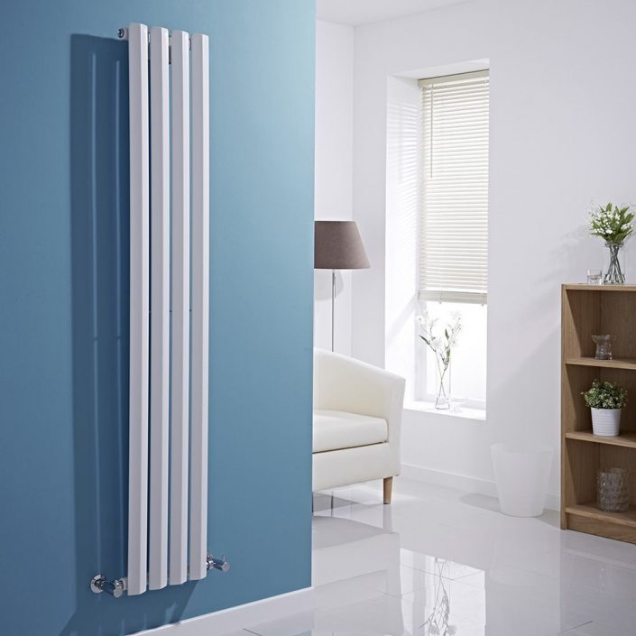 Milano Viti - White Vertical Diamond Panel Designer Radiator