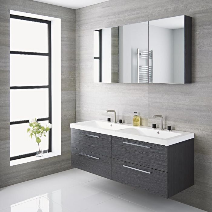 Linley 1400mm Double Vanity Unit Grey